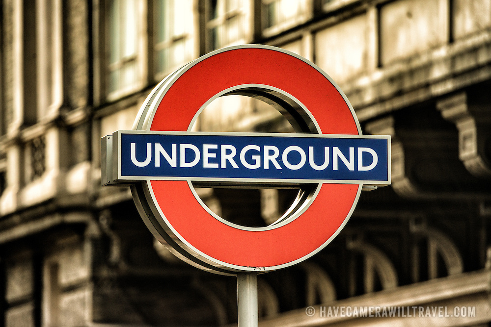 The famous London Underground logo above a station in central London, United Kingdom.