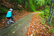 Cyclist exploring the backroads and mixed forest of Plitvice Lakes National Park, Croatia