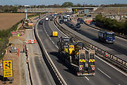 Works by Highways England to convert the M4 into a smart motorway are pictured close to Junction 7 on 22nd April 2021 in Dorney, United Kingdom. The government has announced that all future all lane running motorways, including any such as the M4 currently being constructed, will require radar technology to detect stopped cars.