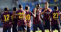 Fotball<br /> Friendly match at Ullevaal Stadion<br /> 26.07.2013<br /> Vålerenga v Barcelona<br /> Foto: Morten Olsen/Digitalsport<br /> <br /> Barcelona celebrating goal<br /> Among players:<br /> Alexandre Song (3R)