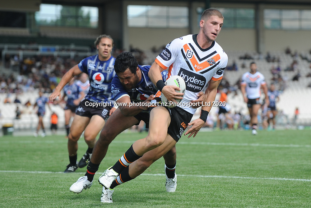 Wests Tigers Adam Doueihi is caught behind his own tryline in the NRL Trial, Vodafone Warriors v Wests Tigers, Rotorua Stadium, Rotorua, Sunday, March 01, 2020. Copyright photo: Kerry Marshall / www.photosport.nz