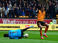 Rajiv Van La Parra's shot is blocked by David Forde during the Sky Bet Championship match between Wolverhampton Wanderers and Millwall at Molineux, Wolverhampton, England on 2 May 2015. Photo by Alan Franklin.