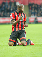 Football - 2016 / 2017 Premier League - Swansea City vs. AFC Bournemouth<br /> <br />  Benik Afobe of Bournemouth  celebrates scoring his team's first goal--, at the Liberty Stadium.<br /> <br /> COLORSPORT/WINSTON BYNORTH