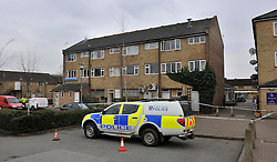© Licensed to London News Pictures. 21/03/2013. Carterton, UK. Police and forensics at the scene on Alvescot Road, Carterton, Oxfordshire where a man in 50s found dead this morning in a flat. 3 men have been arrested on suspicion of murder. Photo credit : MarkHemsworth/LNP