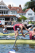Henley-on-Thames. United Kingdom.  2017 Henley Royal Regatta, Henley Reach, River Thames. <br /> Oxford Brookes University and Taurus BC. wing the Ladies Challenge Plate. celebrate winning the Temple Challenge Cup.<br /> <br /> 13:03:41  Sunday  02/07/2017<br /> <br /> [Mandatory Credit. Intersport Images}.