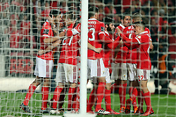 February 3, 2018 - Lisbon, Portugal - Benfica's Mexican forward Raul Jimenez celebrates with teammates after scoring during the Portuguese League football match SL Benfica vs Rio Ave FC at the Luz stadium in Lisbon on February 3, 2018. Photo: Pedro Fiuza (Credit Image: © Pedro Fiuza via ZUMA Wire)