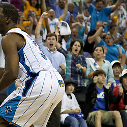 April 24, 2011; New Orleans, LA, USA; New Orleans Hornets point guard Chris Paul (3) reacts after scoring during the fourth quarter in game four of the first round of the 2011 NBA playoffs against the Los Angeles Lakers at the New Orleans Arena. The Hornets defeated the Lakers 93-88.   Mandatory Credit: Derick E. Hingle
