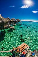 Private sundeck on the lagoon, Hilton Moorea Lagoon Resort, island of Moorea, French Polynesia.