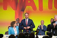 DEU, Deutschland, Germany, Berlin,12.05.2018: V.l.n.r. FDP-Generalsekretärin Nicola Beer, FDP-Parteichef Christian Lindner, FDP-Parteivize Wolfgang Kubicki, beim 69. Bundesparteitag der Freien Demokratischen Partei (FDP) in der Station.