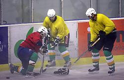 Dominik Rozman, Ales Music and Nik Zupancic at second ice hockey practice of HDD Tilia Olimpija on ice in the new season 2008/2009, on August 19, 2008 in Hala Tivoli, Ljubljana, Slovenia. (Photo by Vid Ponikvar / Sportal Images)