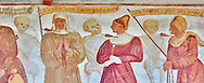 """The Church of San Vigilio in Pinzolo and its fresco paintings """"Dance of Death"""" ( Danza macabra)  painted by Simone Baschenis of Averaria in1539, Pinzolo, Trentino, Italy.<br /> <br /> Noble Women pierced with an arrow from the skeletons that are either side of him and represent dead. .<br /> <br /> Visit our MEDIEVAL ART PHOTO COLLECTIONS for more   photos  to download or buy as prints https://funkystock.photoshelter.com/gallery-collection/Medieval-Middle-Ages-Art-Artefacts-Antiquities-Pictures-Images-of/C0000YpKXiAHnG2k<br /> If you prefer to buy from our ALAMY PHOTO LIBRARY  Collection visit : https://www.alamy.com/portfolio/paul-williams-funkystock/san-vigilio-pinzolo-dance-of-death.html"""