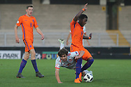Adrian Bernabe of Spain (18) and Daishawn Redan of Netherlands (9) during the UEFA European Under 17 Championship 2018 match between Netherlands and Spain at the Pirelli Stadium, Burton upon Trent, England on 8 May 2018. Picture by Mick Haynes.