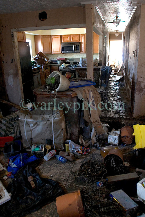 25 Oct, 2005. New Orleans, Louisiana. Hurricane Katrina aftermath. <br /> The 8th ward lies in ruins following Katrina's devastating floods. Inside a home turned upside down by the flood waters.<br /> Photo; ©Charlie Varley/varleypix.com