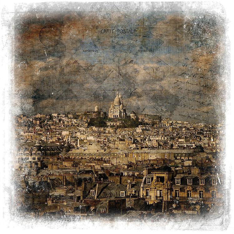 Sacré-Coeur, Paris, France - Forgotten Postcard digital art European Travel collage