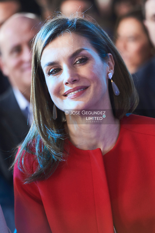 Queen Letizia of Spain attended the Proclamation of the winner of the '2017 Princess of Girona Foundation' Social category at El Hueco Coworking on March 30, 2017 in Soria, Spain