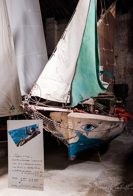 Sailboats on display at the ship pavilion of the Museo Storico Navale di Venezia, in Venice, Italy