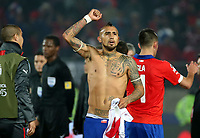 Fotball<br /> Copa America<br /> 29.06.2015<br /> Chile v Peru<br /> Foto: imago/Digitalsport<br /> NORWAY ONLY<br /> <br /> Chile s Arturo Vidal celebrates victory after winning a semi-final match between Chile and Peru of 2015 American Cup in Santiago, capital of Chile, June 29, 2015. Chile defeated Peru 2-1