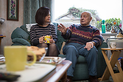 © Licensed to London News Pictures . 30/01/2014. Manchester, UK. Caroline Flint and Ted Amesbury . Shadow Secretary of State for Energy and Climate Change , Caroline Flint MP , with PPC Mike Kane in the home of pensioners Dee (82) and Ted (88) Amesbury ahead of the Wythenshawe and Sale East by-election . Photo credit : Joel Goodman/LNP