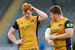 Jack Tovey and Kyle Traynor of Bristol Rugby look frustrated after they lose 19-14 - Rogan Thomson/JMP - 08/10/2016 - RUGBY UNION - Kingston Park - Newcastle, England - Newcastle Falcons v Bristol Rugby - Aviva Premiership.