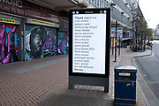 HM Government, and NHS advertising boards thanking NHS staff on Smallbrook Queensway in the city centre as people observe the stay at home advice from the government on 7th April 2020 in Birmingham, England, United Kingdom. Coronavirus or Covid-19 is a new respiratory illness that has not previously been seen in humans. While much or Europe has been placed into lockdown, the UK government has announced more stringent rules as part of their long term strategy, and in particular social distancing.
