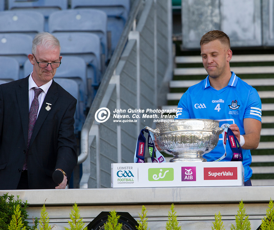 01–08-21.<br /> Dublin v Kildare - Leinster Senior Football Championship Final at Croke Park.<br /> Pat Teehan, Chairman, Leinster GAA presenting the Delaney Cup to Dublin team captain Johnny Cooper.<br /> Photo: John Quirke / www.quirke.ie<br /> ©John Quirke Photography, 16 Proudstown Road, Navan. Co. Meath. (info@quirke.ie / 046-9028461 / 087-2579454).