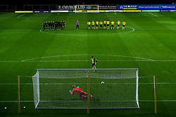 Cameron Brannagan of Oxford United scores his penalty in the shootout to win the game for his side - Mandatory by-line: Robbie Stephenson/JMP - 06/10/2020 - FOOTBALL - Kassam Stadium - Oxford, England - Oxford United v Bristol Rovers - Leasing.com Trophy