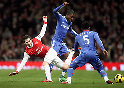 27.12.2010, Emirates Stadium, London, ENG, PL, FC Arsenal vs Chelsea FC, im Bild // Michael Essien of Chelsea  and Arsenal's Cesc Fabregas (captain)   in  the match Arsenal fc vs Chelsea fc for the EPL at the Emirates Stadium in London on 27/12/2010, EXPA Pictures © 2010, PhotoCredit: EXPA/ IPS/ M. Pozzetti *** ATTENTION *** UK AND FRANCE OUT!