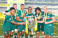 Picture by Andrew Tobin/Focus Images Ltd +44 7710 761829.25/05/2013. Leicester players with the trophy after beating Northampton during the Aviva Premiership match at Twickenham Stadium, Twickenham.