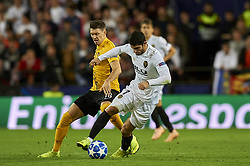 November 7, 2018 - Valencia, Spain - Gonzalo Guedes of Valencia and Fassnacht of Young Boys battle for the ball during the Group H match of the UEFA Champions League between Valencia and Young Boys at Mestalla Stadium, Valencia on November 07 of 2018. (Credit Image: © Jose Breton/NurPhoto via ZUMA Press)