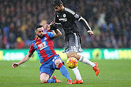 Diego Costa of Chelsea is tackled by Damien Delaney of Crystal Palace.  . Barclays Premier League match, Crystal Palace v Chelsea at Selhurst Park in London on Sunday 3rd Jan 2016. pic by John Patrick Fletcher, Andrew Orchard sports photography.