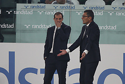 October 14, 2017 - Turin, Italy - Juventus coach Massimiliano Allegri talks with Juventus assistant coach Marco Landucci during the Serie A football match n.8 JUVENTUS - LAZIO on 14/10/2017 at the Allianz Stadium in Turin, Italy. (Credit Image: © Matteo Bottanelli/NurPhoto via ZUMA Press)
