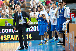 04.09.2013, Arena Bonifka, Koper, SLO, Eurobasket EM 2013, Russland vs Italien, im Bild Simone Pianigiani, head coach of Italy // during Eurobasket EM 2013 match between Russia and Italy at Arena Bonifka in Koper, Slowenia on 2013/09/04. EXPA Pictures © 2013, PhotoCredit: EXPA/ Sportida/ Matic Klansek Velej<br /> <br /> ***** ATTENTION - OUT OF SLO *****