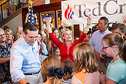 Heidi Cruz thanks the crowd for singing her happy birthday as U.S. Senator and GOP presidential candidate Ted Cruz leads his daughters Catherine and Caroline look on during a campaign event at the Liberty Tap Room restaurant August 7, 2015 in Mt Pleasant, South Carolina. Cruz began a seven-day bus tour called the Cruz Country Bus Tour of southern states following the event.