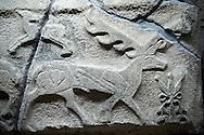 Picture & image of a Neo-Hittite orthostat showing a Deer from Alacahöyük, Alaca Çorum Province, Turkey. An Ankara Museum of Anatolian Civilizations exhibit.