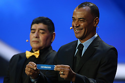 December 1, 2017 - Moscow, Russia - Draw assistant, Cafu (R) draws Denmark during the Final Draw for the 2018 FIFA World Cup Russia at the State Kremlin Palace on December 1, 2017 in Moscow, Russia. (Credit Image: © Igor Russak/NurPhoto via ZUMA Press)