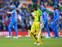 Cricket - 2019 ICC Cricket World Cup - Group Stage: India vs. Australia<br /> <br /> Australia's David Warner out, caught by India's Bhuvneshwar Kumar off the bowling of Yuzvendra Chahal for 56, at The Kia Oval.<br /> <br /> COLORSPORT/ASHLEY WESTERN