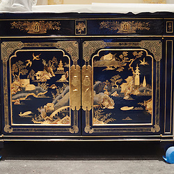 Paris, France. Atelier Midavaine. December 12, 2014. A sideboard with japanese-inspired decoraction destined to a London residence, at the Atelier Midavaine (interior designer: Pierre Yves Rochon). Photo: Antoine Doyen for The Wall Street Journal - GURU