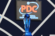 The trophy on display ahead of the William Hill World Darts Championship Semi-Finals at Alexandra Palace, London, United Kingdom on 2 January 2021.