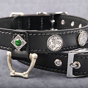 Bon Cristiano dog collar product photography showing leash attachment, silver work, gemstones, and buckle