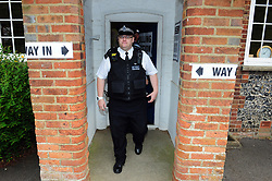 June 8, 2017 - Biggin Hill, Kent, UK - Cudham School polling station Jail Lane, Biggin Hill,Kent. .Police check up on security. Nigel Farage cast his vote here last year for the EU Referendum..UK General Election polling day. (Credit Image: © Grant Falvey/London News Pictures via ZUMA Wire)