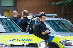 """Finsbury Park, London, June 19th 2017. A major police and emergency services operation with firearms officers in attendance is underway near Finsbury Park Mosque following reports of Several people being injured after a van struck a crowd of pedestrians near a north London mosque in what police have called a """"major incident"""". PICTURED: Armed response officers are at the scene."""