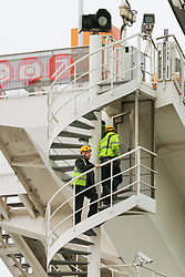 © Licensed to London News Pictures. 07/01/2019. London, UK. Workmen on London Eye which is closed for its annual maintenance refurbishment. The popular tourist attraction is 135m/443ft high and there are 32 capsules attached to the wheel will re-open on 23rd January 2019. The London Eye is Europe's tallest cantilevered observation wheel and over 3.75 million visitors visits the London Eye annually. Photo credit: Dinendra Haria/LNP