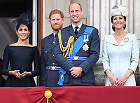 Members of the Royal Family view a flypast and a Feu de Joie to mark the 100th anniversary of the Royal Air Force at Buckingham Palace, London, UK, on the 10th July 2018.<br /> <br /> Picture by James Whatling