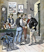 Before the Election'.  Smartly dressed candidate shaking hands with with working men who are thanking him for the drinks he has bought for them.  From 'Le Petit Journal', Paris, 2 September 1893. Politician, Politics, Voter, Bribery