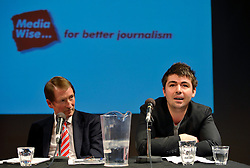 "© Licensed to London News Pictures. File Picture:16 March 2012; Bristol, UK; File picture of Richard Peppiatt (right) being listened to by Steve Brodie from BBC Bristol, at the Bristol Branch of the National Union of Journalists annual Benn Debate with the title ""Hacked to bits; Restoring public trust in journalism"" at the Arnolfini gallery in Bristol. The debate centred on phone hacking, the Leveson inquiry, and trust and regulation of the press. The speakers were Lord Hunt, Christopher Jefferies, Richard Peppiatt, Thais Portilho-Shrimpton, Steve Brodie from BBC Bristol, Mike Norton editor of the Bristol Post.  The event was chaired by Donnacha Delong, President of the National Union of Journalists. 16 March 2012..Photo credit : Simon Chapman/LNP"