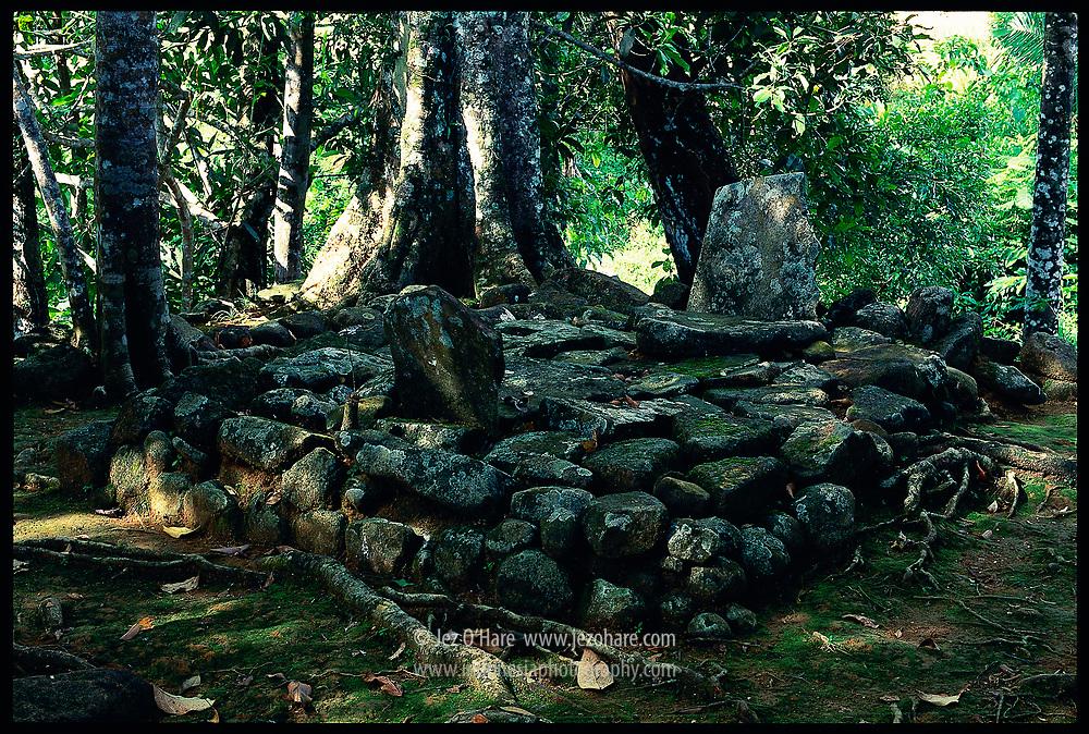 Megalith remains, Pangguyangan or Gentar Bumi, Cikakak, near Pelabuhan Ratu, West Java, Indonesia.