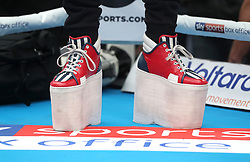 The platform footwear to make Joe Joyce's trainer the same height as him during the workout at Spitalfields Market, London.