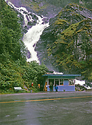 Låtefoss Waterfall near Odda in Norway with kiosk and shop on road, Norway, 1970