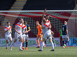 Airdrie's Joao Victoria cele scoring their first goal. half time : Airdrie 2 v 0 Raith Rovers, Scottish Football League Division One played 25/8/2018 at the Excelsior Stadium.
