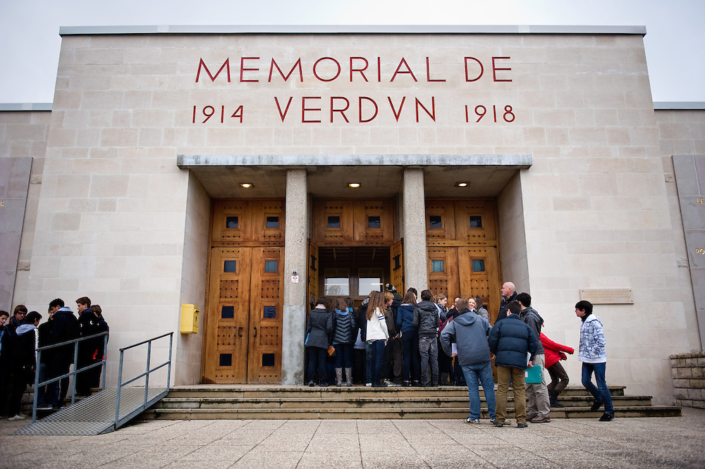 A school visiting the Verdun Memorial. The memorial built in 1967 to commemorate the battle of Verdun fought in 1916. The memorial is situated near the the destroyed village of Fleury-devant-Douaumont and remembers both French and German combatants.